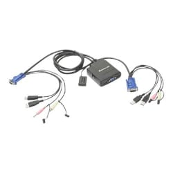 Iogear USB Cable KVM Switch with Audio and Mic 2-Port