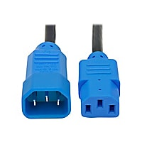 Tripp Lite 4ft Computer Power Cord Extension Cable C14 to C13 Blue 10A 18AW