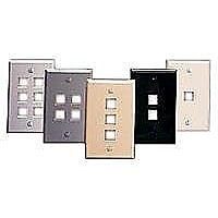 Leviton QuickPort Wallplate, Single-Gang, 4 Port, White, No Window