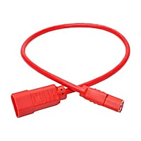 Tripp Lite Computer Power Extension Cord 10A 18AWG C14 to C13 Red 2' 2ft
