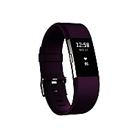 Fitbit Charge 2 - silver - activity tracker with band - plum - silver
