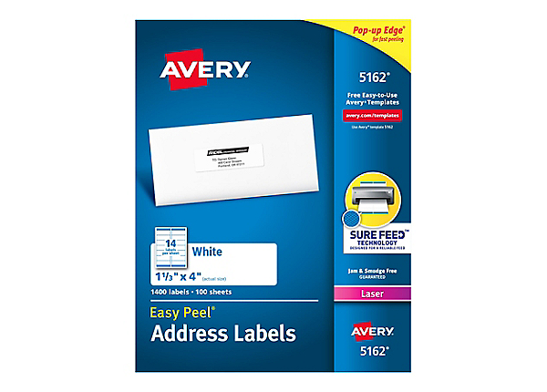 avery white mailing labels 5162 printer paper media cdw com