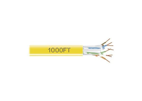 Black Box CAT6, 550-MHz Solid Bulk Cable, 4-Pair, 1000', PVC, Yellow