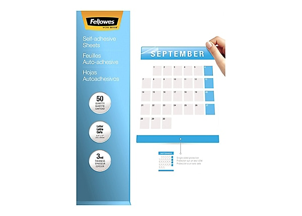 Fellowes 9 x 12 Self Adhesive Laminating Sheets