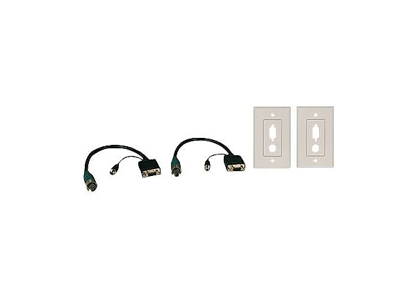 Tripp Lite Easy Pull Type-A Kit w/HD15F/F and 3.5mm Stereo F/F,2 Wallplate
