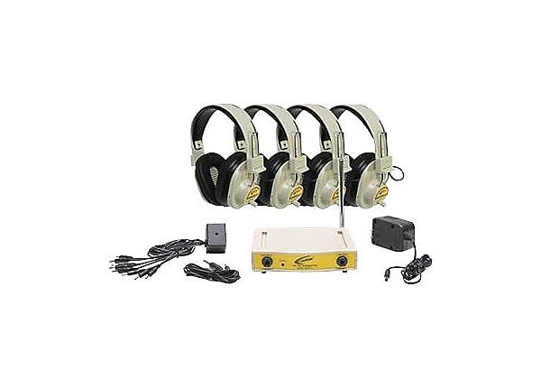 Califone 4-PERSON WIRELESS LEARNING SYSTEM CLS721-4 - headphones
