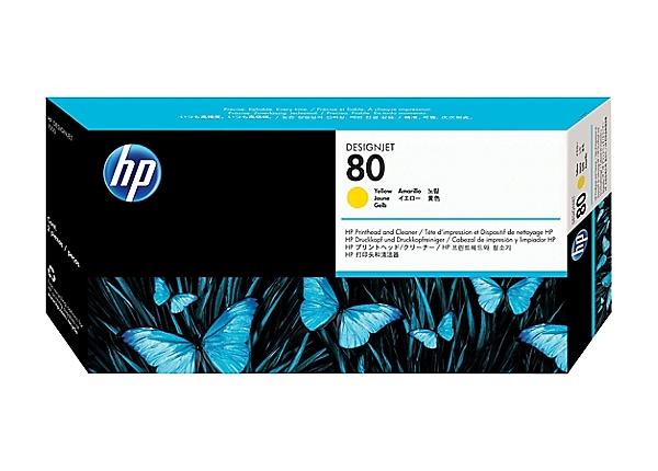 HP 80 - dye-based yellow - printhead with cleaner
