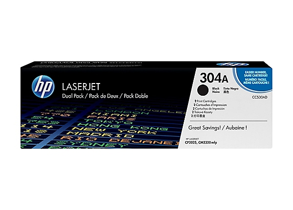 HP 304A - 2-pack - black - original - LaserJet - toner cartridge (CC530AD)