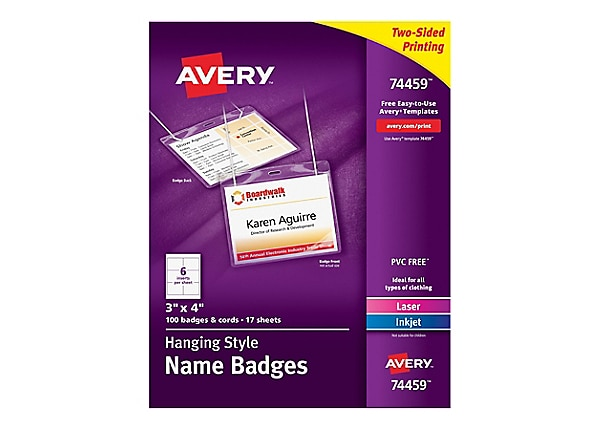 Avery Top-Loading Hanging-Style Name Badges - name badge labels - 100 label