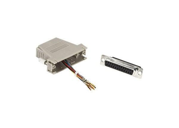 Black Box Modular Adapter Kit Unassembled, DB25F / RJ45F, Gray,Thumbscrews