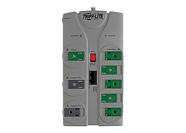 Tripp Lite Eco Surge Protector Green 120V 8 Outlet RJ45 8ft Cord 2160 Joule