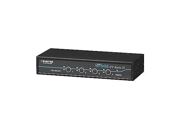 Black Box Basic ServSwitch 4-Port KVM Switch, VGA / PS2 6ft Cables Included