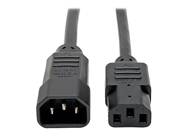 Tripp Lite Computer Power Extension Cord Adapter 10A 18AWG C14 to C13 4ft