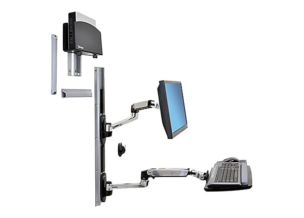 Ergotron LX Wall Mount System with Small CPU Holder - kit de montage
