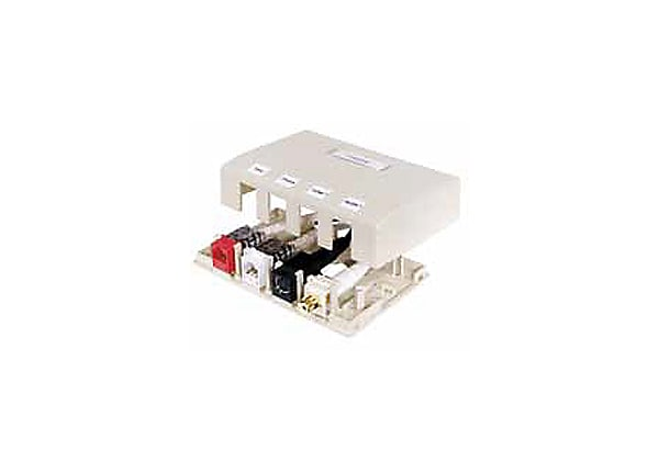 HUBBELL 4PT SURFACE MNT BOX WHT