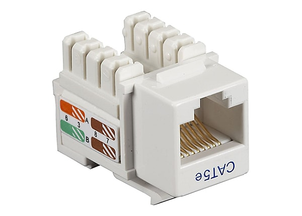 Black Box Cat5e or Cat5 White 110 UTP Keystone Punch Down Jack, 100Mhz,