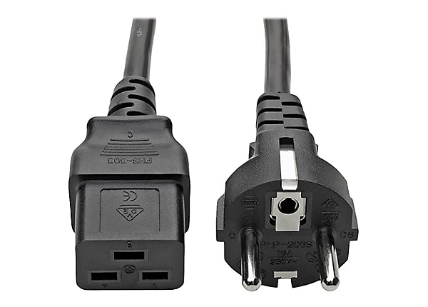 Tripp Lite 2-Prong European Computer Power Cord 10A C19 to SCHUKO Plug 8'