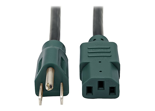 Tripp Lite Computer Power Extension Cord 10A 18AWG 5-15P C13 Green Plugs 4'