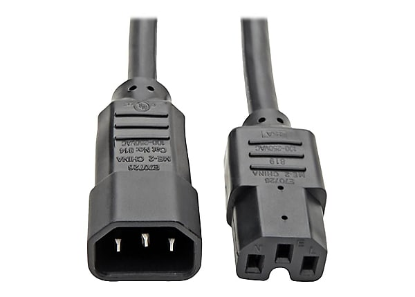 Tripp Lite Heavy Duty Computer Power Extension Cord 15A 14AWG C14 to C15 3'