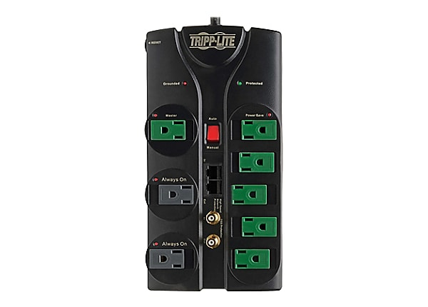 Tripp Lite Eco Green A/V Surge Protector RJ11 RJ45 Coax 8 Outlet 8ft Cord