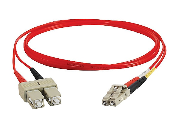 C2G 3m LC-SC 62.5/125 OM1 Duplex Multimode PVC Fiber Optic Cable - Red - pa