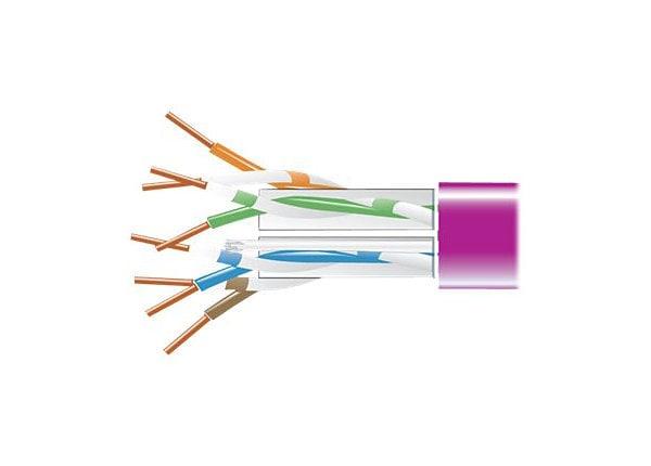 Black Box CAT6, 550-MHz Solid Bulk Cable, 4-Pair, 1000', Plenum, Violet