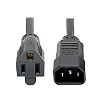 Tripp Lite Computer Power Extension Cord Adapter 10A 18AWG C14 to 5-15R 1ft