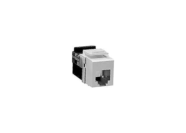 Leviton QuickPort Snap-In Connector, 6-Conductor USOC Voice Grade, White