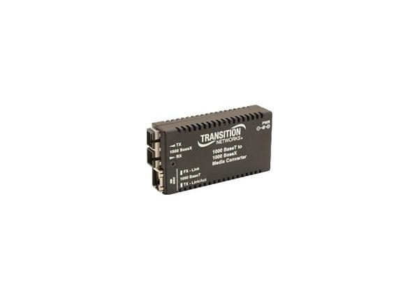 Transition Stand-Alone Mini Gigabit Ethernet Media Converter - fiber media