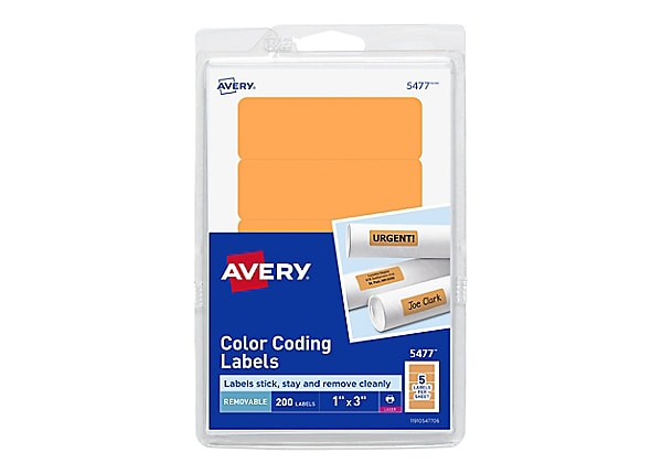 Avery Print or Write Color Coding Labels - labels - 200 label(s) - 1 in x 3