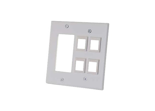C2G Decorative Style Cutout with Four Keystone Double Gang Wall Plate - Whi