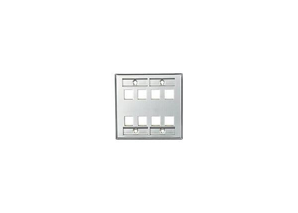 Leviton QuickPort Stainless Steel Wallplate with Designation Windows - moun