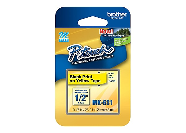 Brother MK631 - non-laminated tape - 1 roll(s) - Roll (1.2 cm x 7.99 m)