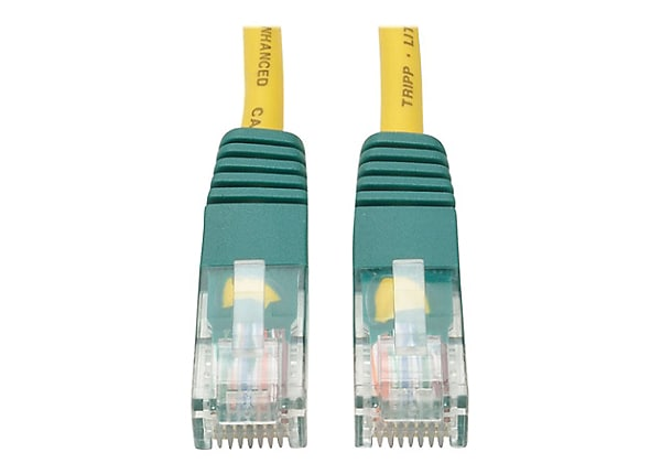 Tripp Lite 25ft Cat5e Cat5 350MHz Molded Crossover Cable RJ45 Yellow 25'
