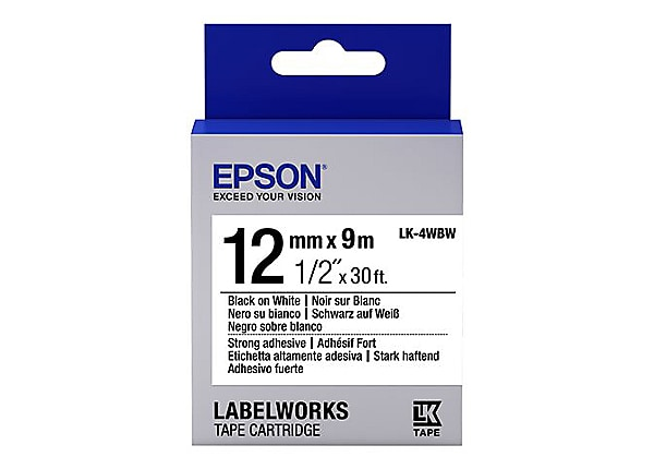 Epson LabelWorks LK-4WBW - label tape - 1 roll(s) - Roll (0.47 in x 29.5 ft