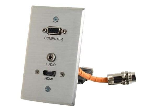 C2G RapidRun VGA + 3.5mm Single Gang Wall Plate + HDMI Pass Through - mount