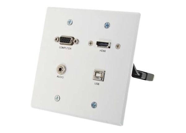 C2G/Legrand RapidRun VGA + 3.5mm Double Gang Wall Plate + HDMI and USB Pass
