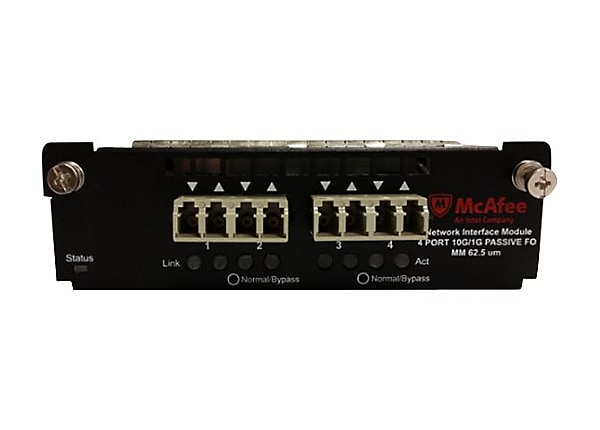 McAfee 4-port 10/1 Gigabit MM 62.5 micron with internal fail-open interface