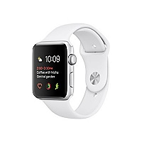 Apple Watch Series 2 - silver aluminum - smart watch with sport band white