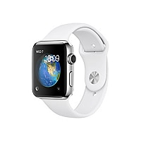 Apple Watch Series 2 - stainless steel - smart watch with sport band white