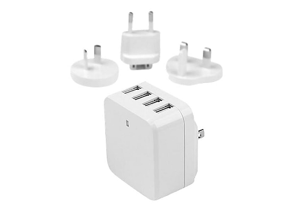 StarTech.com 4-Port USB Wall Charger - 34W/6.8A - Travel Charger 110V/220V