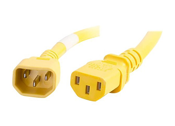 C2G 4ft 18AWG Power Cord (IEC320C14 to IEC320C13) - Yellow - power cable -