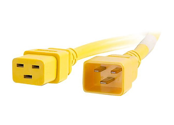C2G 3ft 12AWG Power Cord (IEC320C20 to IEC320C19) - Yellow - power cable -
