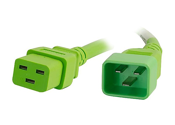 C2G 10ft 12AWG Power Cord (IEC320C20 to IEC320C19) - Green - power cable -