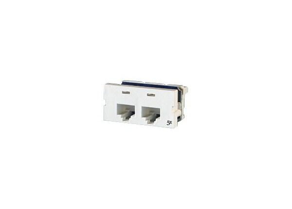 Ortronics Clarity SeriesII Module, 180°, Cat5e/UTP, 2 Port, Fog White