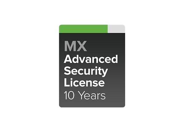 Cisco Meraki MX80 Advanced Security - subscription license (10 years) - 1 l
