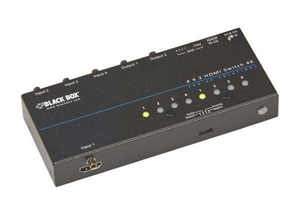 Black Box 4K HDMI Matrix Switch 4 x 2 - video switch - rack-mountable