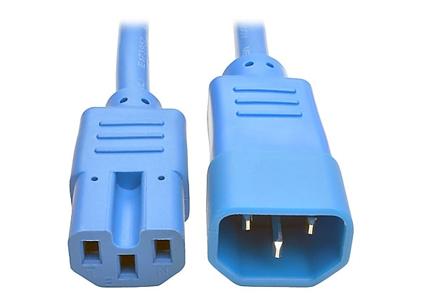 Tripp Lite Heavy Duty Computer Power Cord 15A 14AWG C14 to C15 Blue 6' 6ft
