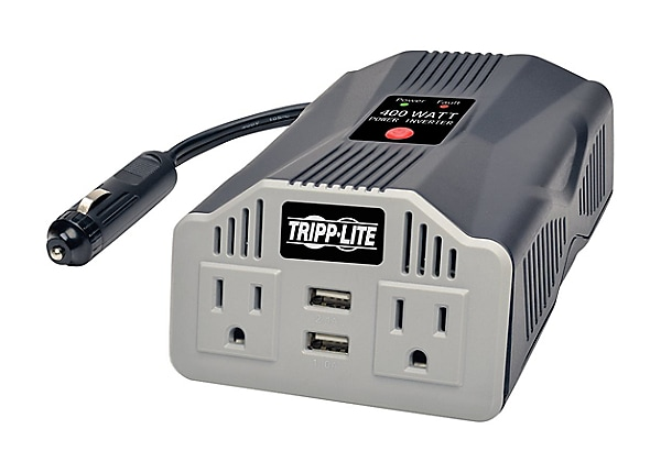 Tripp Lite 400W Compact Car Inverter 12V 120V 2-Port USB Charging 2 Outlet