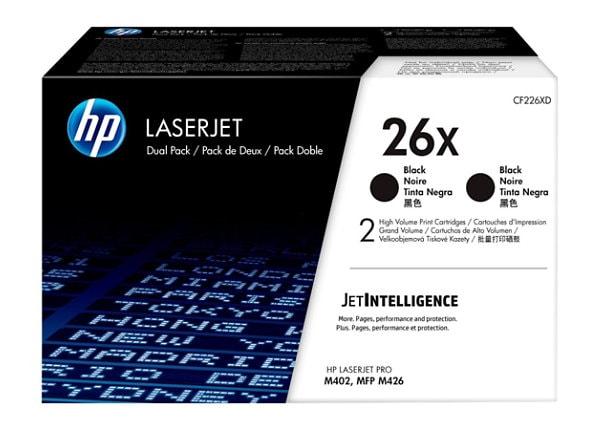 HP 26X - 2-pack - High Yield - black - original - LaserJet - toner cartridg